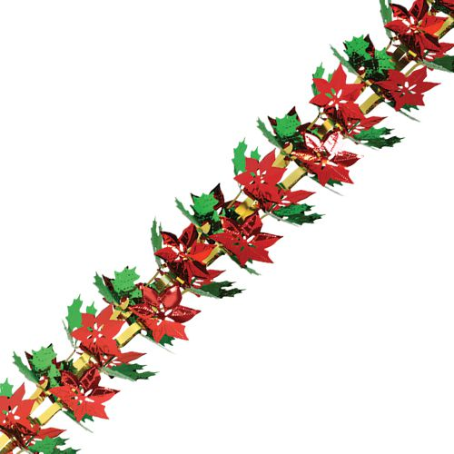 "Poinsettia & Holly Garland - 12"" x 9'"