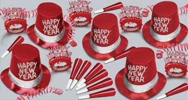New Year Simply Red Hat and Novelty Party Pack for 50