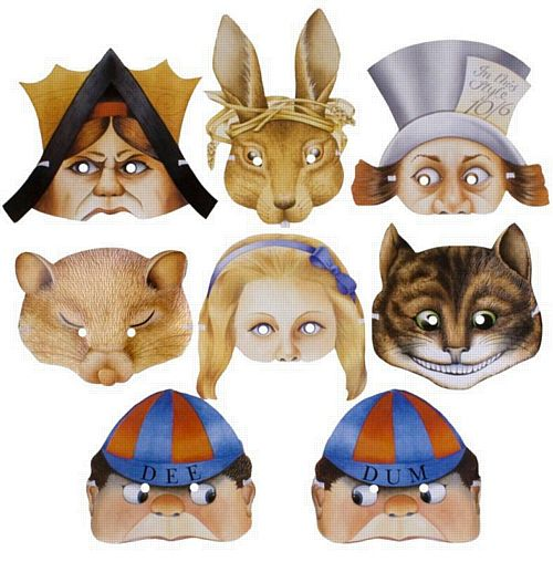 Assorted Alice in Wonderland Masks - Pack of 8
