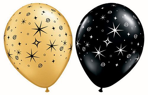 "Sparkles & Swirls Gold and Black Qualatex Latex Balloons - Assorted - 11"" - Pack of 10"
