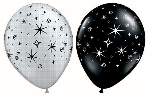 "Sparkles & Swirls Silver and Black Qualatex Latex Balloons Assorted - 11"" - Pack of 10"