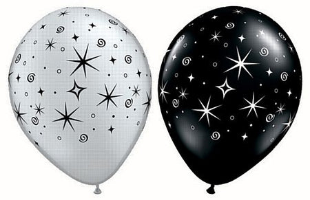 Click to view product details and reviews for Sparkles Swirls Silver And Black Qualatex Latex Balloons Assorted 11 Pack Of 10.