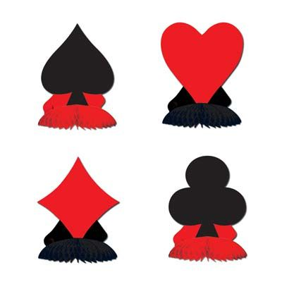 "Card Suit Mini Playmate Centrepieces - 4.5"" - Pack of 4"