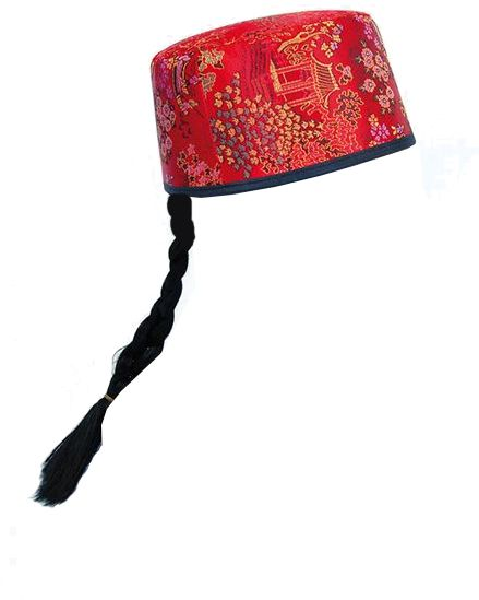 Red Chinese Mandarin Hat With Plait