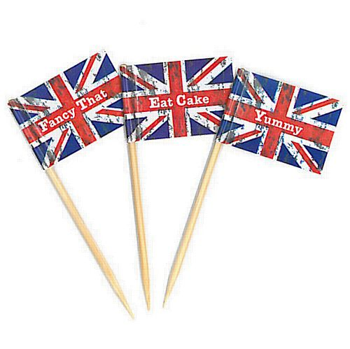 Union Jack Mini Flag Cupcake Sticks - Pack of 20