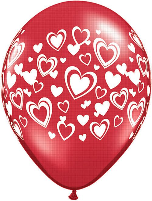 "Double Hearts Ruby Red Qualatex Balloons - 11"" - Pack of 10"