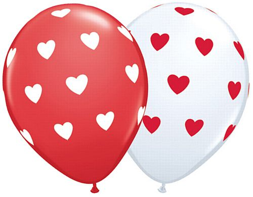 "Big Hearts Red & White Assorted Qualatex Balloons - 11"" - Pack of 10"