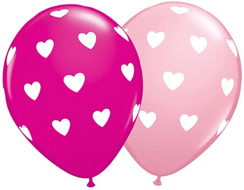 "Big Hearts Pink & Wild Berry Qualatex Balloons - Assorted - 11"" - Pack of 10"