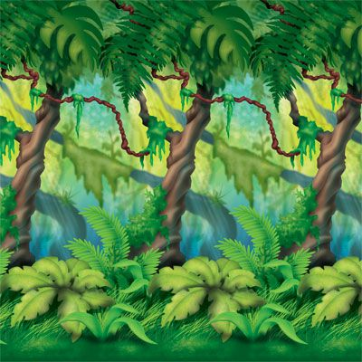 Jungle Trees Backdrop - 4' x 30'