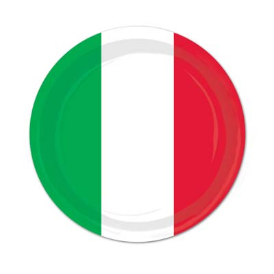 "Red, White & Green Plates - 9"" - Pack of 8"