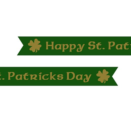 Happy St. Patricks Day Pre Printed Ribbon - Green - 25mm - Per Metre