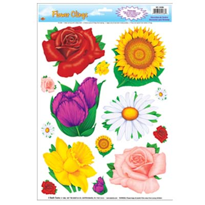Flower Window Sticker Clings - 43.2cm - Pack of 14