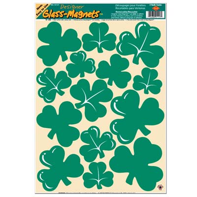Irish St. Patrick's Day Lucky Shamrock Clings - 43.2cm - Pack of 14