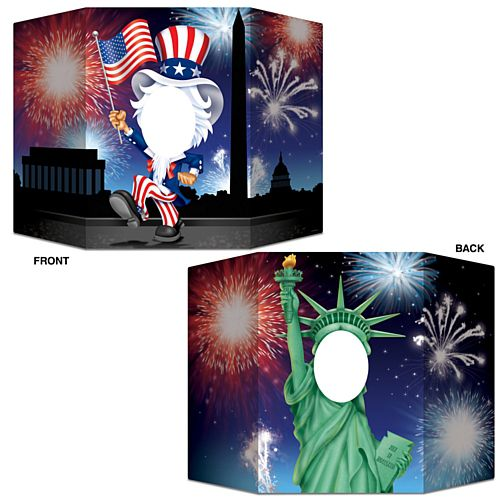 American Uncle Sam and Statue of Liberty Stand-In Photo Prop - Reversible 2 Designs - 94cm