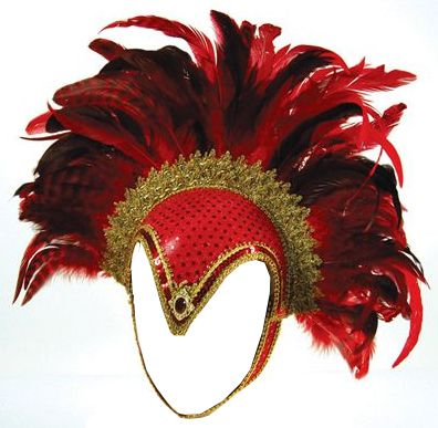 Feather Helmet, Red Jewel And Plume