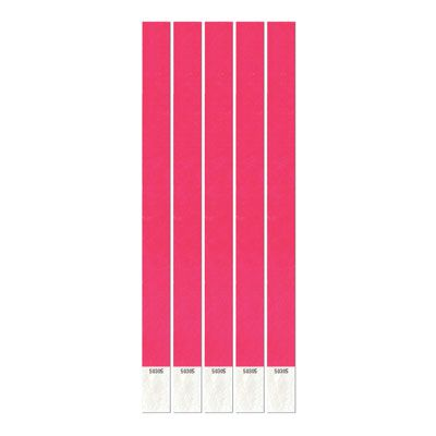 Pink Tyvek Wristbands - 25cm - Pack of 100