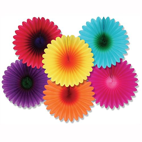 Flower Fans - Assorted Mini - 15cm - Pack of 6