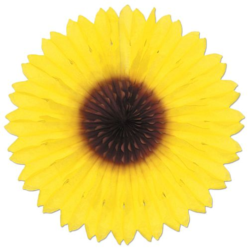 "Tissue Sunflower Fan - 18"" (46cm)"