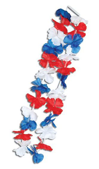 Flower Lei Red, White and Blue