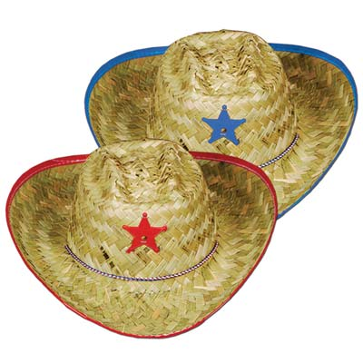 Child Straw Cowboy Hats- Assorted Colour Bands
