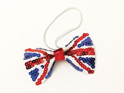 British Union Jack Sequin Bow Tie