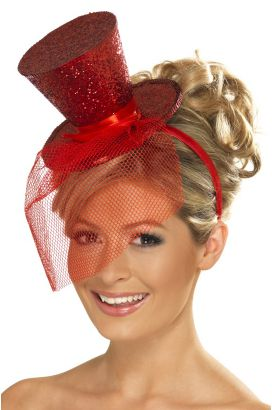 Red Fever Mini Top Hat on Headband