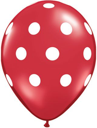 Big Polka Dots Red White Qualatex Balloons 11 Pack Of 25