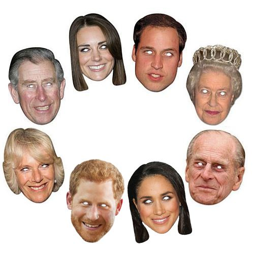 Royal Family Card Masks - Pack of 8