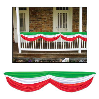 Red, White & Green Fabric Drapes - 1.78m