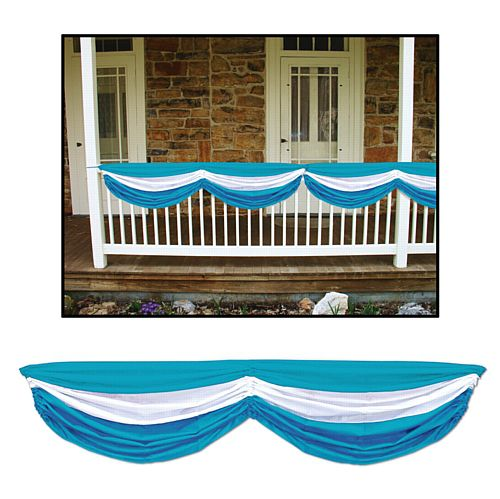 Blue & White Fabric Drapes - 1.78m