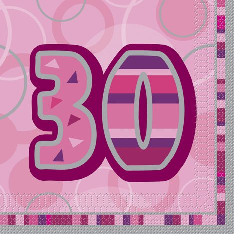 Birthday Glitz Pink '30' Luncheon Napkins - 3-Ply - Pack of 16