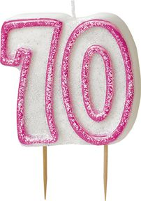 Birthday Glitz Pink '70' Candle - 6cm - Each