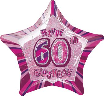 Birthday Glitz Pink '60th' Prismatic Foil Balloon - 50.8cm