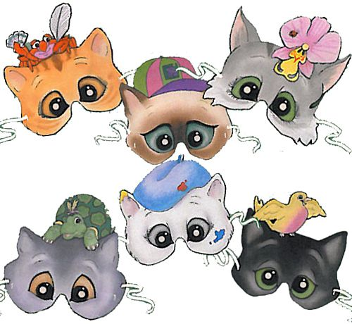 Character Cats Mask Assortment - Pack of 6