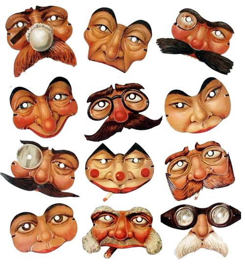 Mini Edwardian Reproduction Mask Assortment - Pack of 12