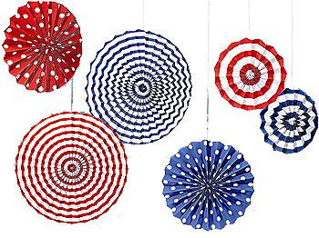 Flying Colours Red, White and Blue Paper Fans - Various Sizes - Pack of 6