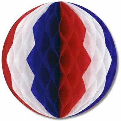"Red, White & Blue Tissue Ball - 12"" - Each"