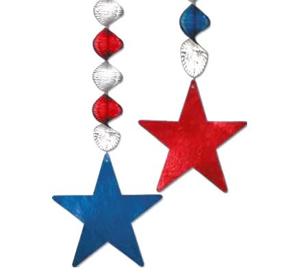 Red, Silver & Blue Star Danglers - 76cm - Pack of 2