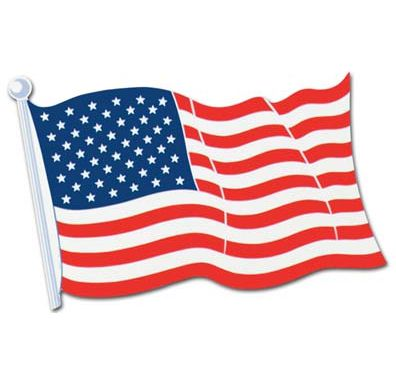American Flag Card Cutout Wall Decoration - 46cm - Each