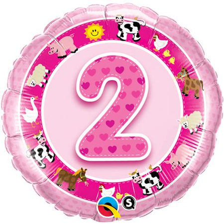 Click to view product details and reviews for Age 2 Pink Farm Animals Qualatex Foil Balloon 18.