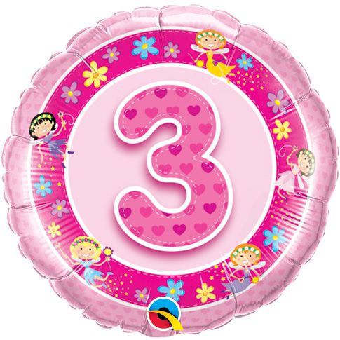 Age 3 Pink Fairies Qualatex Foil Balloons - 18""
