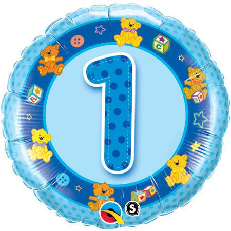 Click to view product details and reviews for Age 1 Blue Teddies Qualatex Foil Balloon 18.
