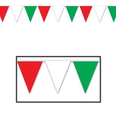 Red, White & Green Bunting 'All Weather'- 36.58m (120')