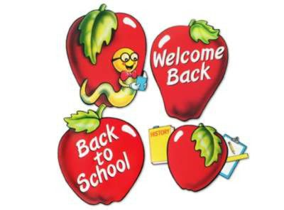 School Days Apple Cutouts - 40.6cm - Assorted Images - Pack of 4