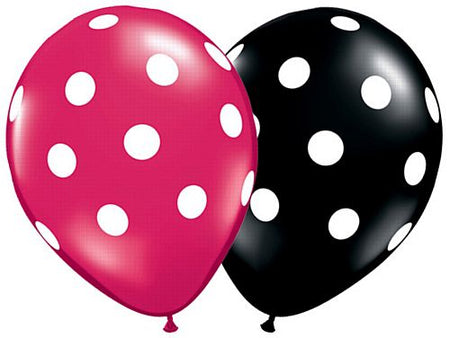 Click to view product details and reviews for Big Polka Dots Onyx Black Hot Pink Qualatex Balloons 11 Assorted Pack Of 25.