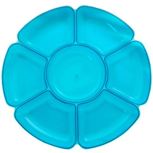 "Blue Brights Plastic Snack Dish - 16"" - Each"