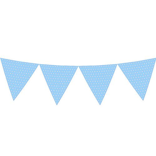 Light Blue Polka Dot Paper Bunting - 2.7m