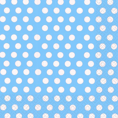Light Blue Polka Dot Luncheon Napkins 3 ply - Pack of 20