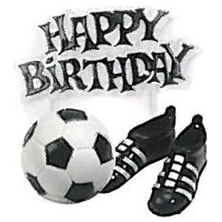 Football Happy Birthday Ball & Boots Cake Topper