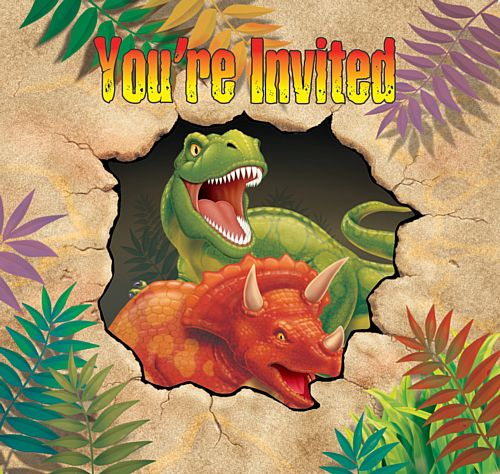 Dino Blast Invites - Pack of 8